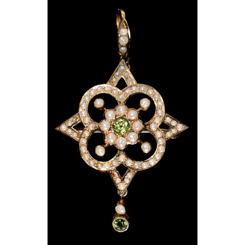 46 - <strong>A PERIDOT AND SPLIT PEARL BROOCH- PENDANT, C1910</strong> 49mm, marked 9c, 3.3g...