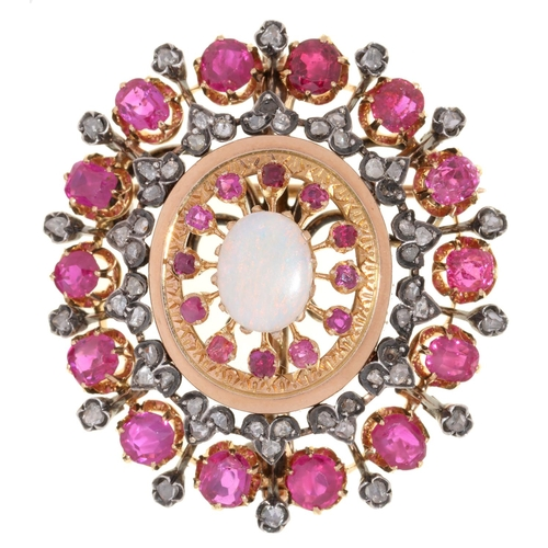 48a - <strong>A RUBY, DIAMOND AND OPAL BROOCH-PENDANT </strong>in gold, 40mm, 18g...