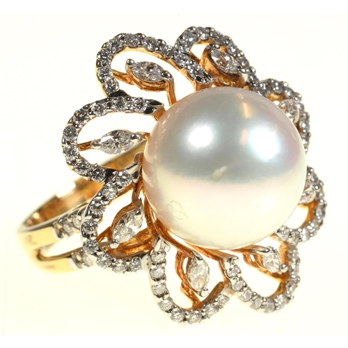49 - <strong>A DIAMOND AND CULTURED PEARL RING AND PAIR OF SIMILAR EARRINGS</strong> the ring with 12mm c...