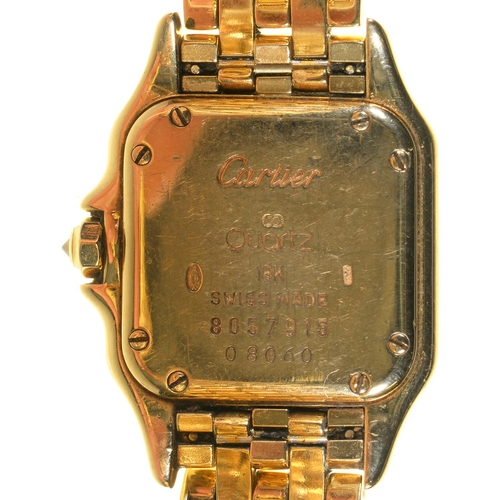 55 - <strong>A CARTIER 18CT GOLD AND DIAMOND LADY'S WRISTWATCH, PANTHERE r</strong><span style=
