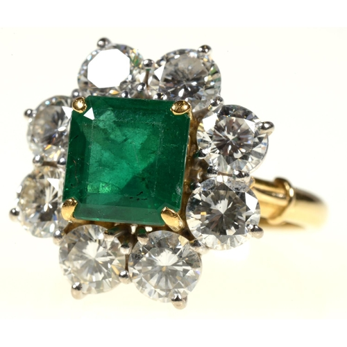 7 - <strong>AN EMERALD AND DIAMOND RING, </strong> with step cut emerald of approx 6 x 6mm and of approx...