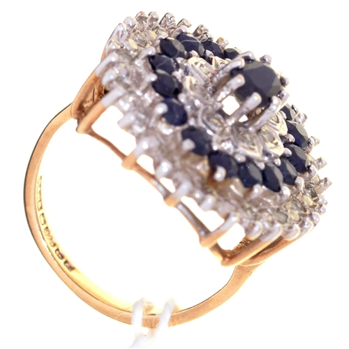 1 - A SAPPHIRE AND DIAMOND CLUSTER RING IN 9CT GOLD, BIRMINGHAM 1979, 5.8G, SIZE K...