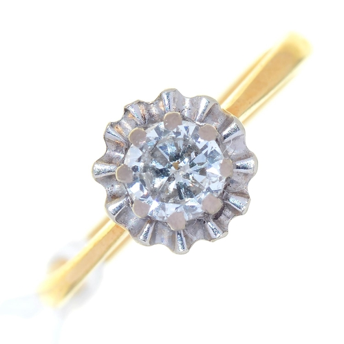 17 - A DIAMOND SOLITAIRE RING, THE RADIANT SET ROUND BRILLIANT CUT DIAMOND OF APPROXIMATELY 0.25CT, GOLD ...