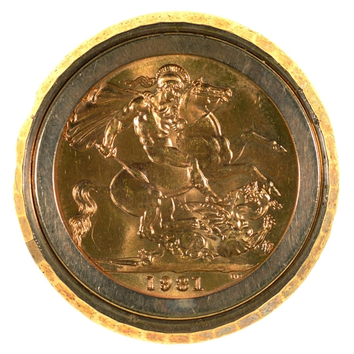 19 - GOLD COIN. SOVEREIGN 1981, MOUNTED IN A 9CT GOLD RING, LONDON 1975, 16.3G, SIZE V...