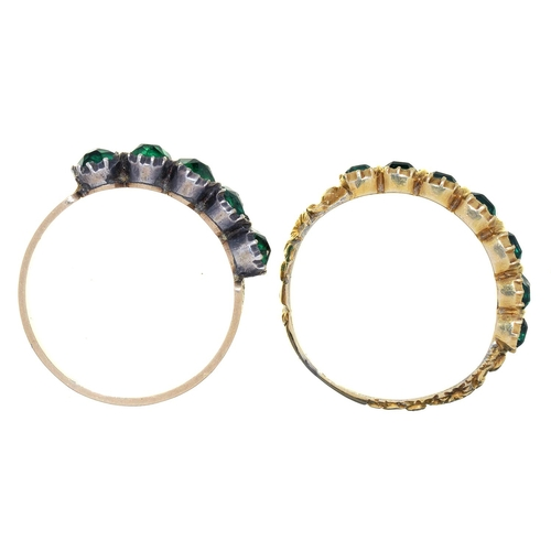14 - TWO VICTORIAN GREEN PASTE SET GOLD RINGS, MID 19TH C, CHASED OR ENGRAVED, UNMARKED, 3.4G, SIZES J AN...