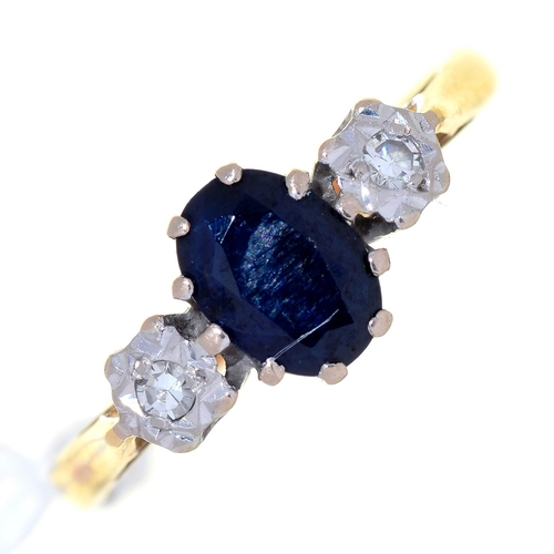 24 - A SAPPHIRE AND DIAMOND THREE STONE RING, THE DIAMONDS ILLUSION SET IN 18CT GOLD, BIRMINGHAM 1969, 2....