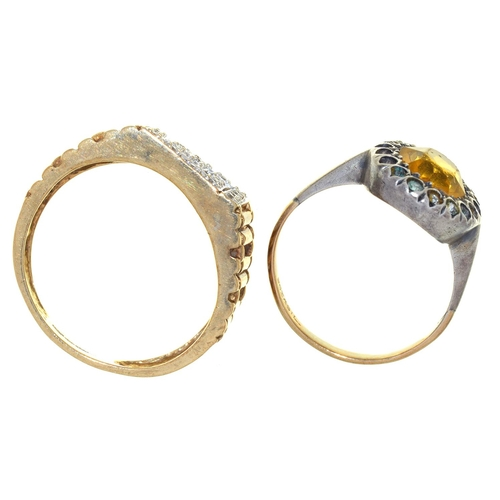 38 - A 9CT GOLD AND CUBIC ZIRCONIA SET SIGNET RING WITH PIERCED SHOULDERS, CONVENTION MARKED, SHEFFIELD, ...