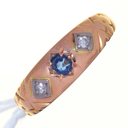 4 - A VICTORIAN SAPPHIRE AND DIAMOND RING, GYPSY SET IN 22CT GOLD, BIRMINGHAM 1851, 1.9G, SIZE L...