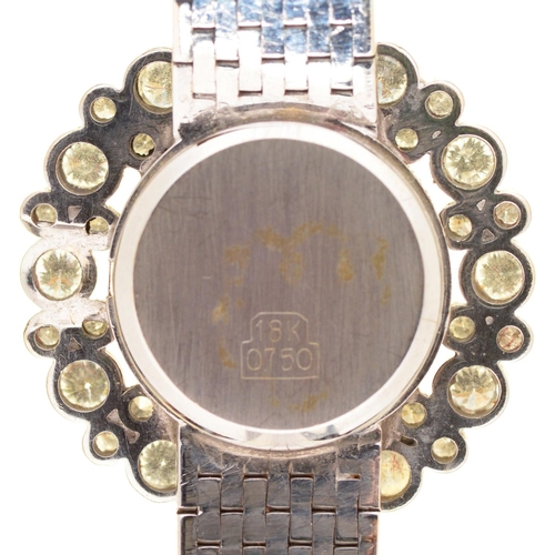 41 - AN OMEGA 18CT WHITE GOLD COCKTAIL WATCH WITH DIAMOND BEZEL, 26MM DIAM, 41.6G...