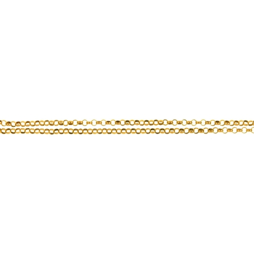 52 - A GOLD CHAIN, 67.5CM L, MARKED 9K, 24.8G...