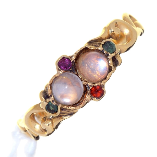 6 - A VICTORIAN MULTI GEM SET GOLD RING, MID 19TH C WITH SCROLLING, PIERCED SHOULDERS, UNMARKED, 2G, SIZ...