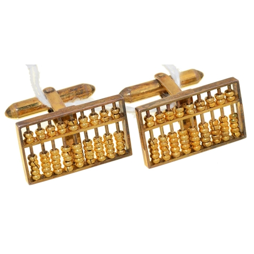 10 - A PAIR OF GOLD ABACUS CUFFLINKS, 13 X 22MM, MARKED 14K, 9.2G...