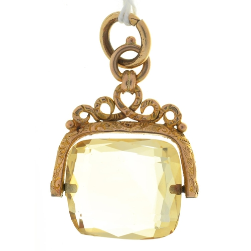 12 - A 9CT GOLD AND FACETED CITRINE SWIVEL FOB SEAL, 34MM EXCLUDING GOLD SUSPENSION RING, BIRMINGHAM, DAT...