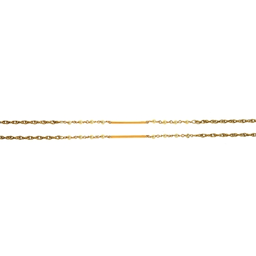 15 - A 9CT GOLD ROPE-AND-BATON LONGCHAIN, WITH CULTURED PEARLS AT INTERVALS, 131CM L, LONDON 1984, 26G...