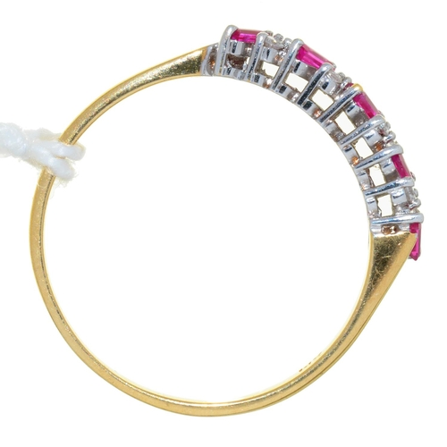 27 - A STEP CUT RUBY AND DIAMOND RING, 18CT GOLD HOOP, 3.2G, SIZE V½...