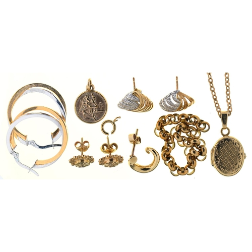 35 - MISCELLANEOUS GOLD JEWELLERY, APPROX 18G...