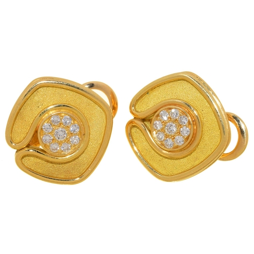 40 - A PAIR OF DIAMOND AND 18CT TWO COLOUR GOLD EARRINGS BY DE VROOMEN, WITH PAVÉ SET CENTRE, CLIP FITTIN...