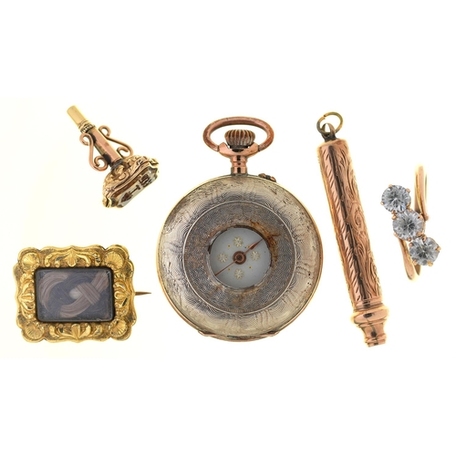 41 - A VICTORIAN GOLD AND CITRINE SHIELD SHAPED SEAL-WATCH KEY, C1840, 19MM, A CONTEMPORARY GOLD MOURNING...