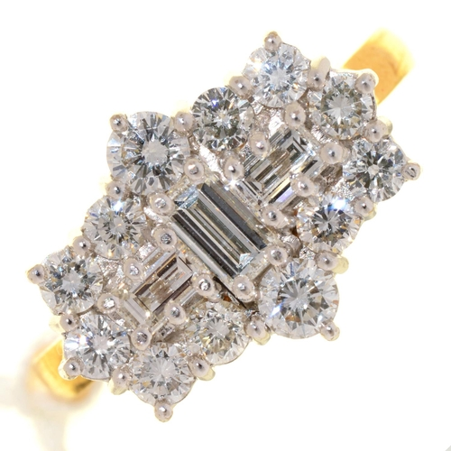5 - A DIAMOND CLUSTER RING WITH THREE LARGER CENTRAL EMERALD CUT DIAMONDS, IN 18CT GOLD, LONDON 2001, 7....