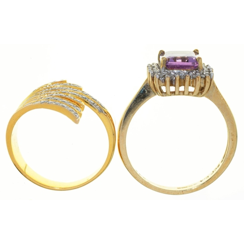 7 - AN OBLONG STEP CUT AMETHYST AND DIAMOND CLUSTER RING, IN 9CT GOLD AND A DIAMOND DRESS RING IN GOLD, ...