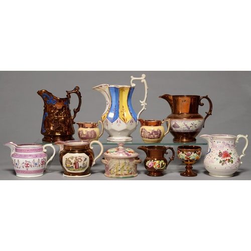 383 - A COLLECTION OF VICTORIAN LUSTRE WARE, MAINLY JUGS, ALL MID 19TH C, VARIOUS SIZES (12)...