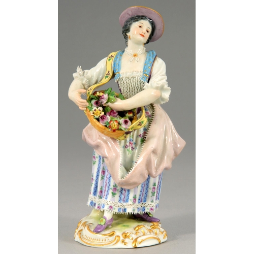 254 - A MEISSEN FIGURE OF A GIRL WITH A BASKET OF FLOWERS, 20TH C; 15.5CM H, IMPRESSED 36 AND 81, INCISED ...