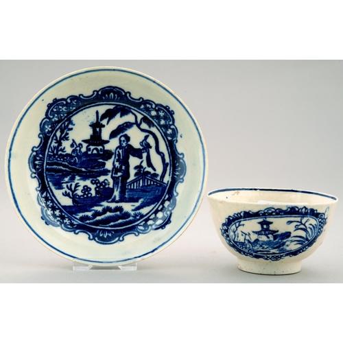 283 - A LIVERPOOL BLUE AND WHITE TEA BOWL AND MATCHED SAUCER,THE TEA BOWL JOHN PENNINGTON, THE SAUCER SETH...