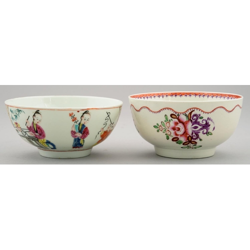 288 - TWO WORCESTER FAMILLE ROSE CHINOISERIE SUGAR BOWLS, C1770-80, 12CM DIAM...