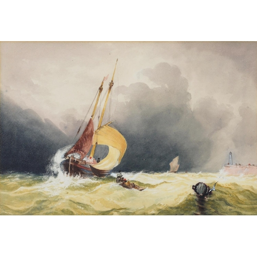 622 - FOLLOWER OF WILLIAM ROXBY BEVERLEY - FISHING BOATS IN A STORM OFF A LIGHTHOUSE, WATERCOLOUR, 25.5 ...