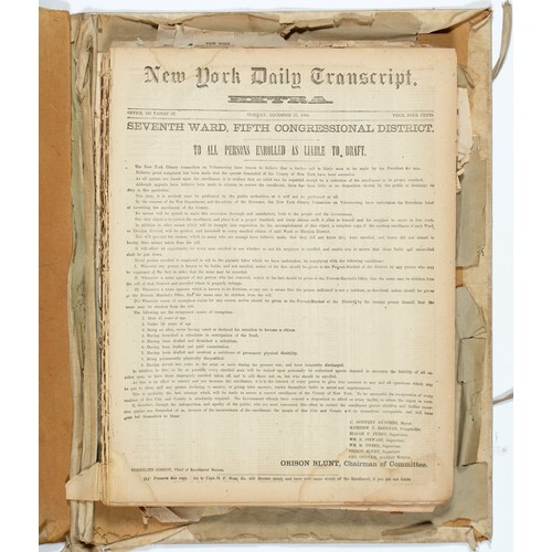 623 - AMERICAN CIVIL WAR ENROLLMENT NEWSPAPERS NEW YORK DAILY TRANSCRIPT EXTRA<br />INTERESTING COLLECTIO...