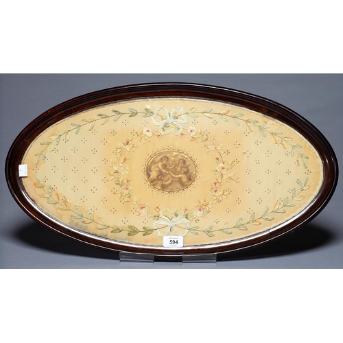 625 - AN EDWARDIAN GLAZED MAHOGANY TEA TRAY, C1910, CONTAINING A CONTEMPOARY NEO CLASSICAL STYLE EMBROIDER...