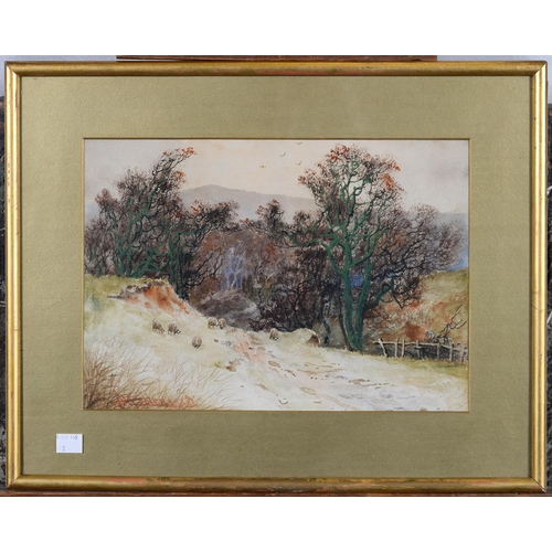 676 - ENGLISH SCHOOL, C1900 - LANDSCAPES, A SET OF THREE, ALL INDISTINCTLY SIGNED A H B..., WATERCOLOUR, 2...