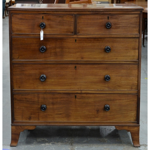 820 - A VICTORIAN MAHOGANY CHEST OF DRAWERS, C1870, WITH EBONY KNOBS, ON SPLAYED FEET, 109CM H; 49 X 108CM...
