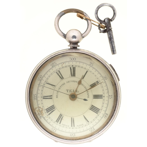 118b - A SWISS SILVER PLATED LEVER CHRONOGRAPH, WILLIAM TELL REGISTERED, LATE 19TH C, 55MM...