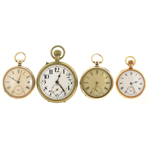 118e - ONE GOLD PLATED AND TWO SILVER LEVER WATCHES, THE FIRST KEYLESS, VARIOUS SIZES, SILVER WATCHES LONDO...