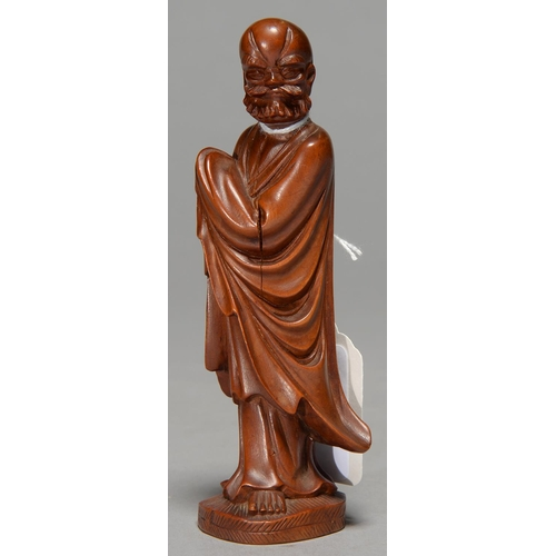 492f - A JAPANESE BOXWOOD SCULPTURE OF AN AHRAT, 20TH C, 13.5CM H...