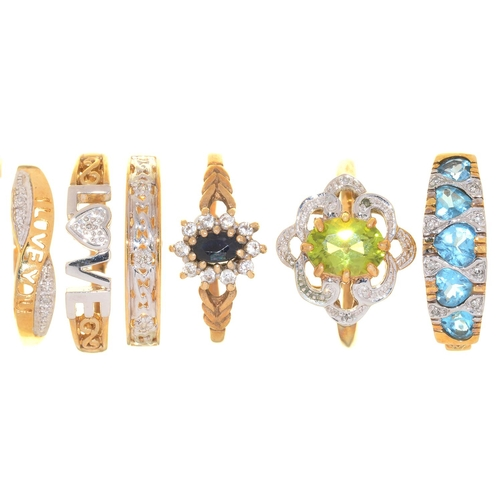 10 - SIX  RINGS, VARIOUSLY GEM SET IN GOLD, 12.4G, SIZES N, P...