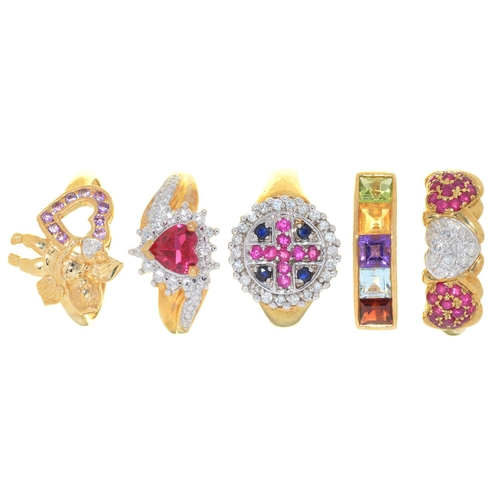 11 - FIVE  RINGS, VARIOUSLY GEM SET IN GOLD, 16.5G, SIZE P...