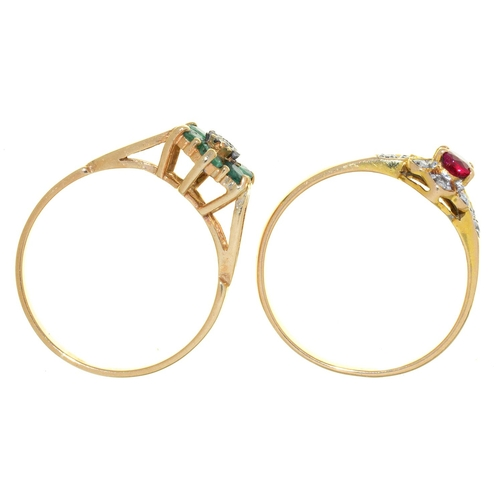 13 - TWO RINGS, VARIOUSLY GEM SET IN 9CT GOLD OR GOLD MARKED 585, 3.2G, SIZE M...