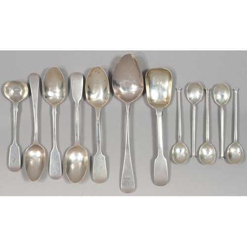 138 - MISCELLANEOUS SILVER TEA AND OTHER SPOONS, WILLIAM IV AND LATER, 5OZS...