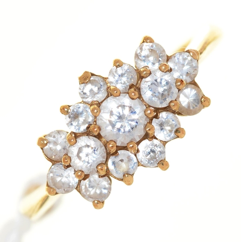 14 - A DIAMOND CLUSTER RING, IN 9CT GOLD, 3.8G SIZE P...