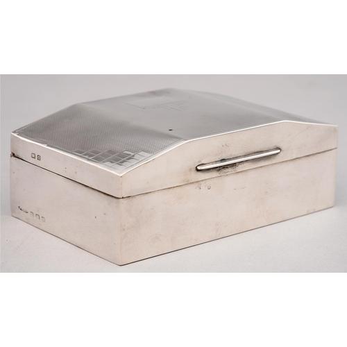 150 - A GEORGE VI SILVER CIGARETTE BOX, CEDAR LINED, 13.5CM L, MARKS RUBBED, BIRMINGHAM 1938...