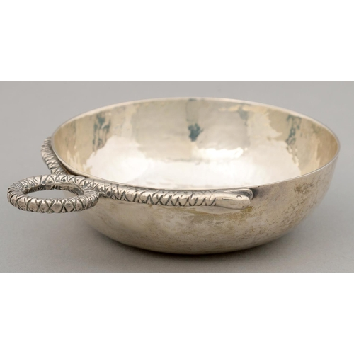 177 - A MEXICAN SILVER WINE TASTER, 20TH C, HAMMER TEXTURED, BOWL 27MM DIAM, MAKER'S AND OTHER MARKS, 4OZ ...