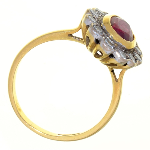 19 - A RUBY AND DIAMOND CLUSTER RING, IN 18CT GOLD, LONDON 1996, 5.1G,  SIZE N...