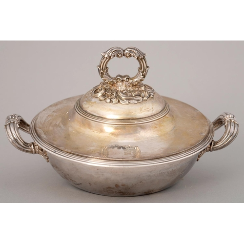 195 - A FRENCH SILVER VEGETABLE DISH AND COVER WITH LOOP HANDLES AND REEDED RIMS, ENGRAVED WITH ARMORIALS,...