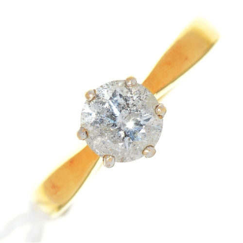 2 - A DIAMOND SOLITAIRE RING, IN GOLD, UNMARKED, 5.3G, SIZE P...