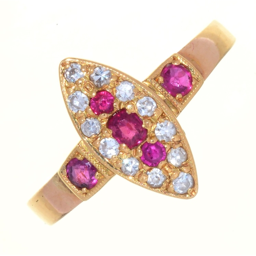20 - A VICTORIAN RUBY AND DIAMOND NAVETTE CLUSTER RING,  WITH RUBY SHOULDERS, IN 15CT GOLD, CHESTER 1883,...
