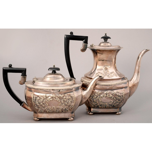 204 - A GADROONED EPNS COFFEE POT AND A TEAPOT EN SUITE, MID 20TH C, STAMPED WITH FLOWERS AND FOLIAGE, COF...