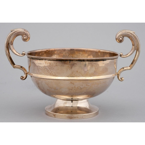 218 - A GEORGE V SILVER TROPHY CUP WITH FLYING SCROLL HANDLES, 15CM H, BY C S GREEN AND CO, BIRMINGHAM 192...