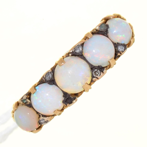 22 - AN OPAL FIVE STONE RING WITH DIAMOND ACCENTS, IN GOLD, UNMARKED, 3.8G, SIZE Q...